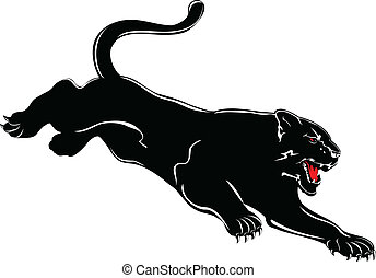 panther - Vector image attacking black panther