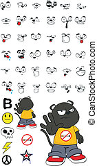 panther kid cartoon set 5 - panther kid cartoon set in...