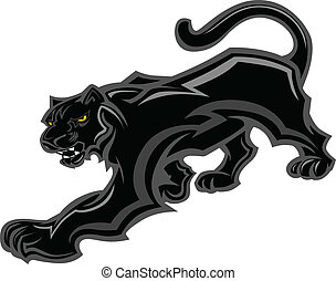 Graphic Mascot Vector Image of a Walking Panther Body