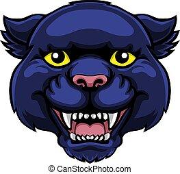 Panther Mascot Cute Happy Cartoon Character