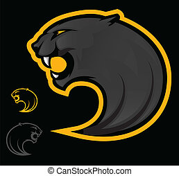 Panther Mascot - Illustration of an angry black panther