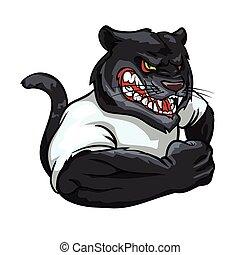 Panther mascot, team label design.