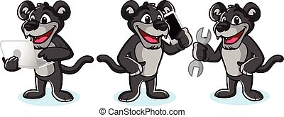 Panther Mascot Vector with laptop