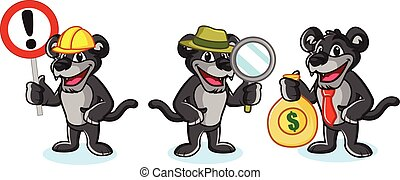 Panther Mascot Vector with money