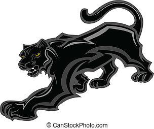 panther, maskottchen, koerper, vektorgrafik