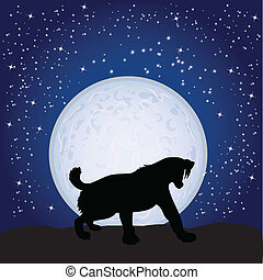 panther on the moonlight vector illustration