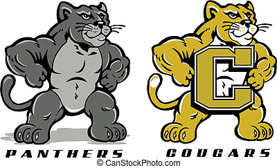 panther or cougar - cute cartoon of panther or cougar