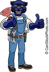 Panther Plumber Cartoon Mascot Holding Plunger