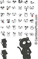 panther plush cartoon set