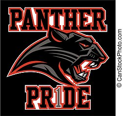 panther pride team design with mascot head for school,...