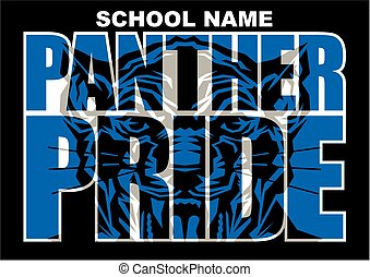 panther pride team design with mascot head inside letters...