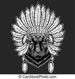 Panther Puma Cougar Traditional ethnic indian boho headdress...