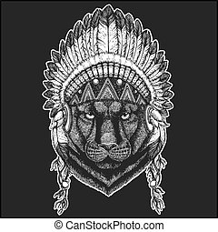Panther Puma Cougar Wild cat Cool animal wearing native american indian headdress with feathers Boho chic style Hand drawn image for tattoo, emblem, badge, logo, patch