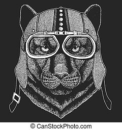Panther, puma, cougar, wild cat, jaguar. Vintage motorcycle hemlet. Retro style illustration with animal biker for children, kids clothing, t-shirts. Fashion print with cool character. Speed and freedom.