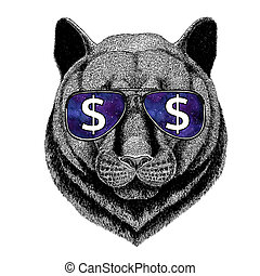 Panther Puma Cougar Wild cat wearing glasses with dollar sign Illustration with wild animal for t-shirt, tattoo sketch, patch