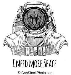 Panther Puma Cougar Wild cat wearing space suit Wild animal astronaut Spaceman Galaxy exploration Hand drawn illustration for t-shirt