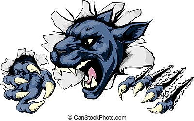 Panther ripping through background - Panther sports mascot...