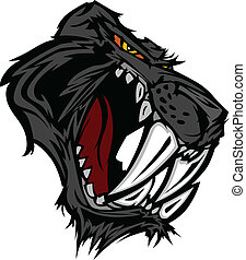 Panther Saber Tooth Cat Mascot Head - Graphic Vector Mascot...