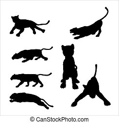 Panther Silhouettes - Black panther silhouettes