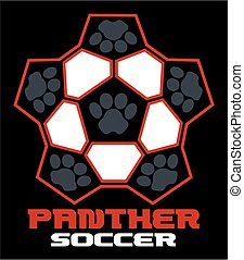 panther soccer team design with paw prints for school, ...