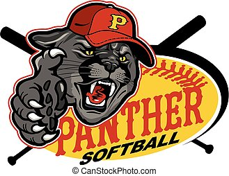 panther softball mascot team design for school, college or...