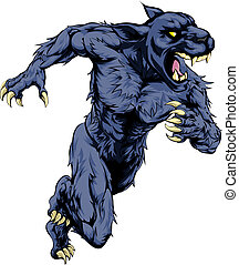 Panther sports mascot running - A panther man character or...