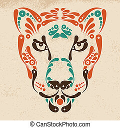 Panther tattoo, symbol decoration illustration