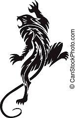 Panther tattoo, vintage engraving.