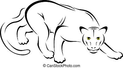 panther  - Vector illustration of panther symbol - tattoo