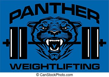panther weightlifting team design with mascot and barbell...