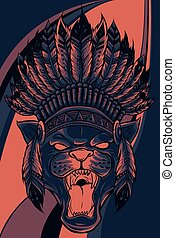 panther with native American Indian chief headdress.