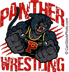 panther wrestling team design with muscular mascot for...