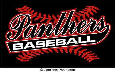 panthers baseball team design in script with tail for...