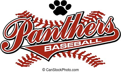 panthers baseball team design with paw print and stitches...