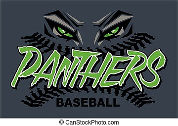 panthers baseball team design with stitches and mascot eyes for school, college or league