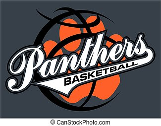 panthers basketball team design in script with tail for...