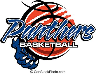 panthers basketball team design with ball and claw for...