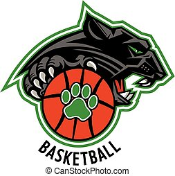 panthers basketball team design with ball and mascot for...