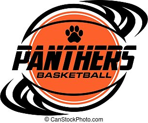 panthers basketball team design with ball and paw print for ...