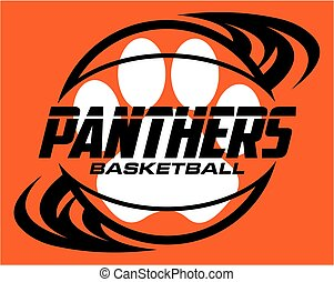 panthers basketball team design with ball and paw print for...