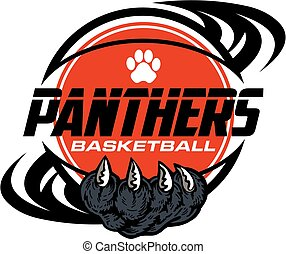 panthers basketball team design with paw print inside ball...