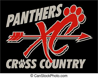 panthers cross country team design with arrow and paw print...
