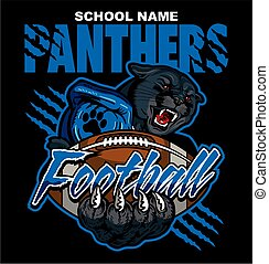 panthers football team design with mascot holding ball for...