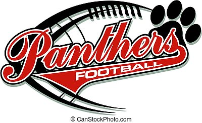 panthers football team design with paw print and ball for...