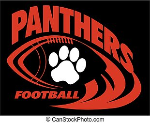 panthers football team design with paw print inside ball for...