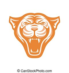 Panthers head logo for sport club or team. Animal mascot logotype. Template. Vector illustration.