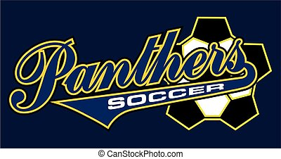 panthers soccer team design in script with tail for school,...