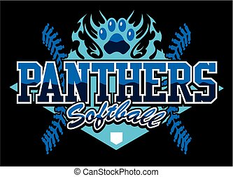 panthers softball team design with flaming paw print for...