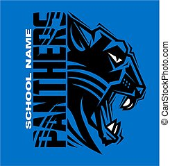 panthers team sports design with half mascot for school, college or league