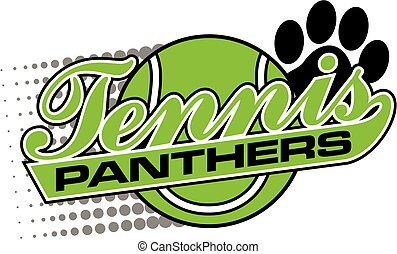 panthers tennis team design in script with tail and large...